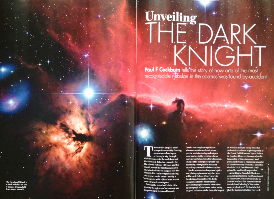 Opening spread of my Horsehead Nebula article in the June 2013 issue of BBC Sky at Night.