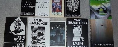 Copies of several Iain Banks novels