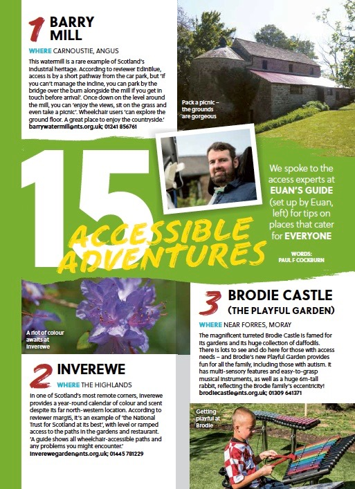 First page layout of the article from the printed magazine, featuring the first three visitor attractions in the list: Barry Mill, Inverewe and Brodie Castle (The Playful Garden).