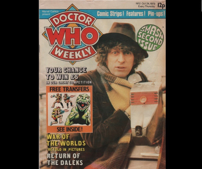 "Cover of the ""Smash Second Issue"" of Doctor Who Weekly, featuring Tom Baker and K9. Free Transfers Inside and a chance to Win £5!"